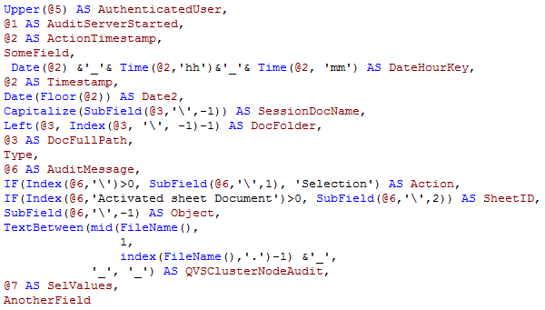 QlikView LOAD script - no indentation of aliases