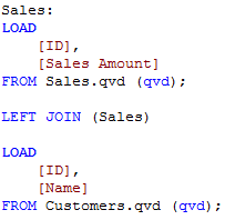 Regular LOAD script joining Sales and Customers.