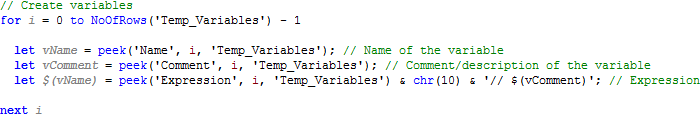 Loop through all the rows in the table, and create a variable for each item.
